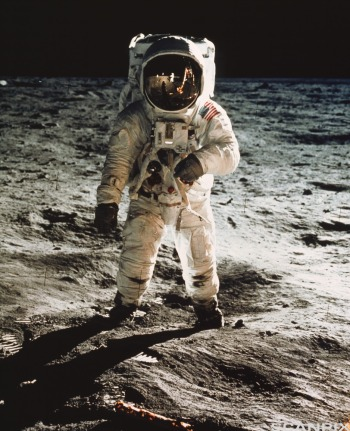 Apollo 11 astronaut Edwin Aldrin walking on moon