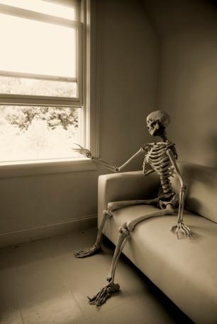 Skeleton at window