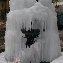 Note to self: Turn off fountain before winter begins. (I took this photo of a neighbor's front yard.)
