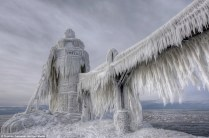 The edges of nearby Lake Eriebecome sculptures of perilous beauty during the winter.