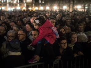 People gather outside of Notre Dame Cathedral in Paris, ahead of a ceremony for the victims of Friday's terrorist attacks. Even as we mourn for those lost in the violence, Michel Martin says, we should not forget the many who have died in similar attacks the world ove