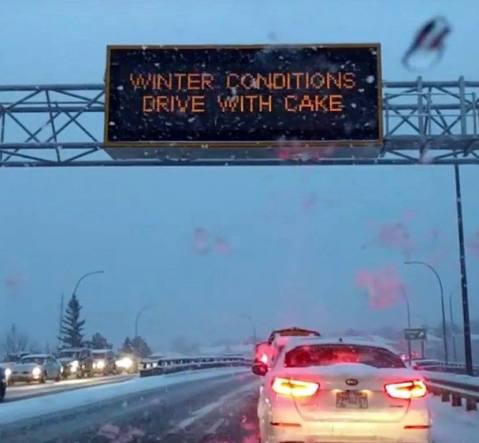 Winter highway blooper