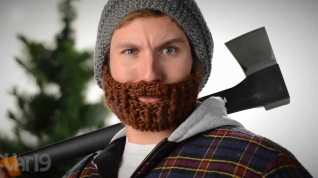 "Cozy Manly Beard Cap. ""Oh, I'm a lumberjack and I'm OK..."""