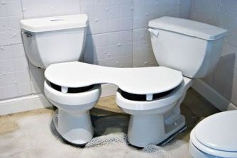 Cozy Conversational Duo-Toilet with, like, no room for you feet. Which could ruin the whole experience.