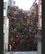 1550 Chairs Stacked Between Two City Buildings (Istanbul, Turkey)
