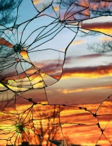 Sunset Reflected Through Shattered Glass (photo by Bing Wright)