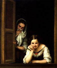 Two Women at a Window by Bartolome Esteban Murillo Repro (1655)