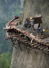 Building a mountain road in China