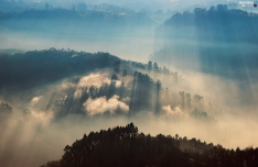 mountains-woods-rays-fog-sun