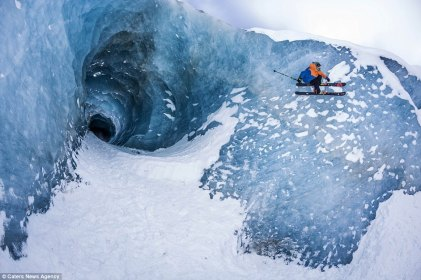 Sam Fevret skiing an ice wall