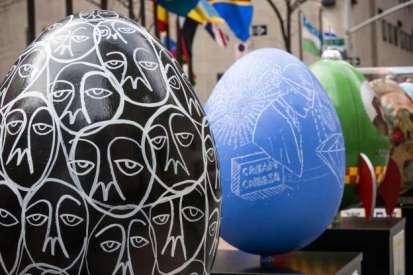 Modern Faberge eggs at Rockefeller Plaza in New York City