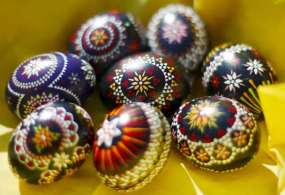 Traditiona Sorbian-style Easter eggs in Schleife, Germany