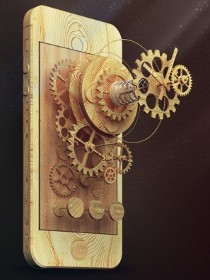Woodpunk clock by Sergey Valiukh