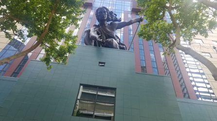 Portlandia, sculpture by Raymond Kaskey (photo by Ray Stiles)