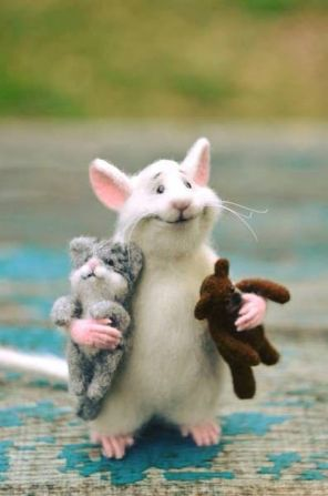 Rat with Cat and Bear - plush dolls (Etsy)