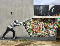 'Behind the Curtain' street art by Martin Whatson