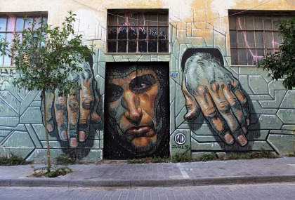'Hope Dies Last' mural by WD (Athens, Greece)