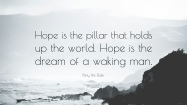 'Hope is the pillar...'