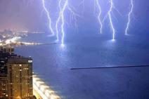 Lightning storm over Lake Michigan