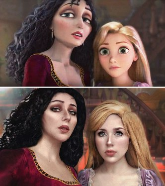 Rapunzel AND Mother Gothel (Russian cosplayer Jules Gudkova)
