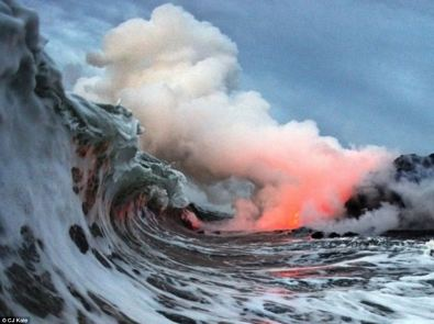 Where the Lava Meets the Sea, Kilauea Volcano, Hawaii (photo by CJ Kale)