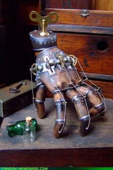 Mechanical steampunk inspired by The Thing from 'The Addams Family' (cheezburger.com)