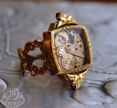 Neo-Victorian Deco-punk watch-ring