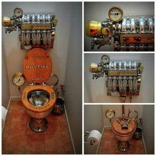 Steampunk muscle-car toilet time-travel device