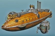 Steampunk Submarine by Streambird Design