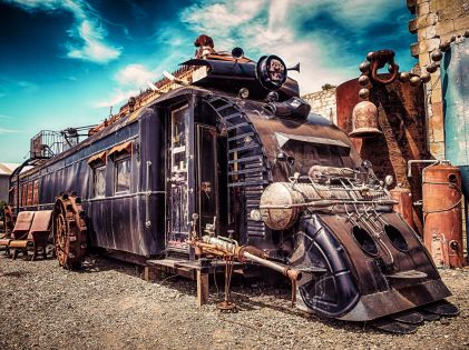 Steampunk train (this is actually someone's home)