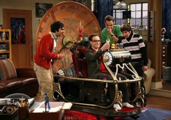 """The Nerdmabelia Scattering"" -- When Leonard and the guys buy a time machine prop from the classic 1960 movie of the same name, its arrival inadvertently creates problems for Penny and she tells the boys that their obsession with comics and toys is ""pathetic,"" on THE BIG BANG THEORY, Monday, April 28 (8:00-8:30 ET/PT) on the CBS Television Network. (pictured standing left to right; Kunal Nayyar as Raj Koothrappali; Jim Parsons as Sheldon; Simon Helberg as Howard Wolowitz and sitting Johnny Galecki as Leonard) Photo: Greg Gayne/CBS ©2008 CBS Broadcasting Inc. All Rights Reserved."