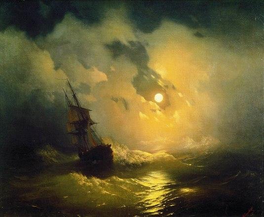 Stormy Sea at Night, 1849, by Ivan Aivazovsky (Pavlovsk Palace, Saint Petersburg)