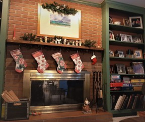 Cozy den up close, with stockings waiting to be filled