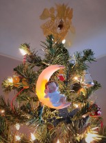 Tree toppers (the baby-on-the-moon ornament were gifts the year our first child was born)