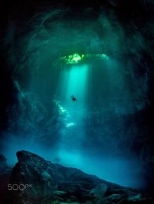 Another World - Underwater caves in Tulum, Mexico - photo credit, Tom St George (boredpanda.com)