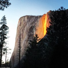 'Firefall' in Yosemite, California - caused by setting sun's reflection on the water
