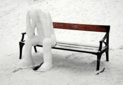 Headless-Snowman-Sitting-On-Bench-Funny-Picture