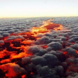 Not lava, but sunset beneath the clouds