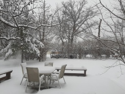 Our deck is one with the back yard (usually, it's 2' higher)