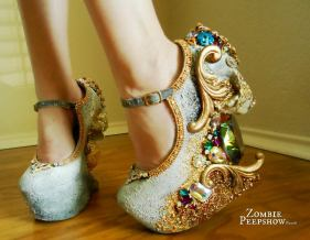 'Catacomb Saint' Crystal Encrusted Wedges (etsy.com)