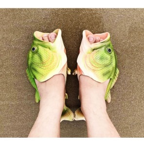 'Fishheads, fishheads, roly-poly fishheads' (Weird Green Fish Sandals - (rebelsmarket.com)