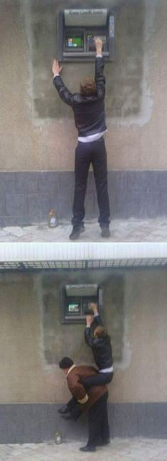 'Funny, the new ATM isn't getting a lot of use' (pinterest)