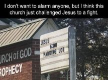 Church challenges Jesus to a fight