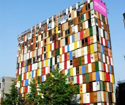 10-Story Building in Seoul, Korea, covered in recycled doors, by Choi-Jeong-Hwa