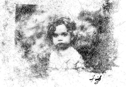 Little Girl portrait by Bill Finks (made entirely out of the artist's own hair) (livingmsia.com)