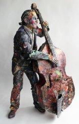 Recycled newspaper 'Bass Player' by Will Kurtz (willkurtz.com)