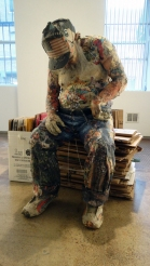 Recycled newspaper 'Sleeping Homeless Guy' by Will Kurtz (willkurtz.com)