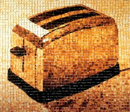 'Toaster' mosaic made from toasted bread pieces, by Ingrid Falk and Gustav Aguerre, Modern Art Museum, Buenos Aires