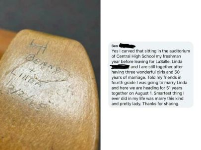 Desk found at local museum by the man who carved on it--51 years later! -klpack11 (boredpanda.com) -