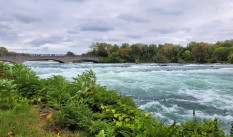 Niagara Falls - bridge to Goat Island (which separates American Falls and Horshoe Falls)